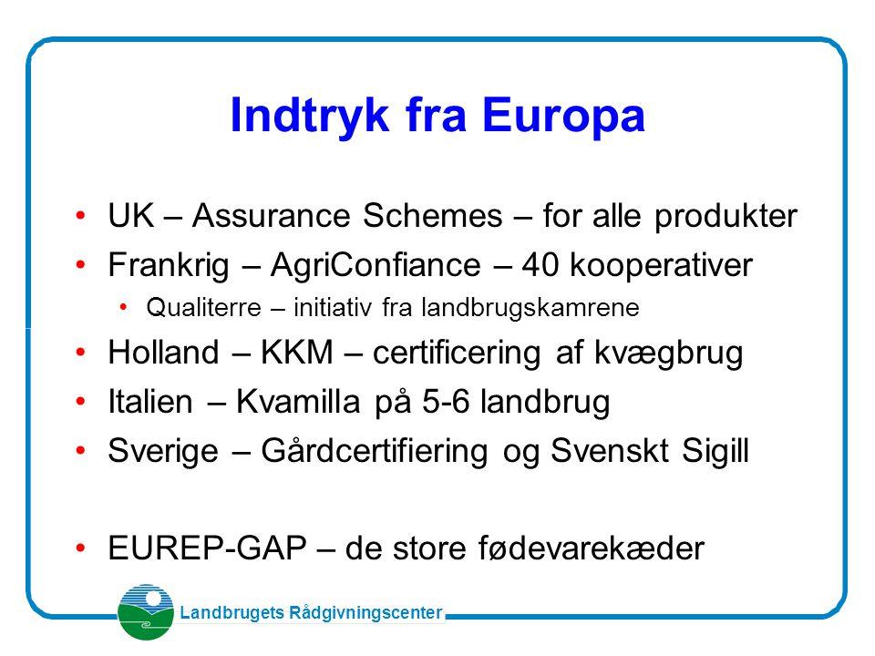 Landbrugets Rådgivningscenter Indtryk fra Europa UK – Assurance Schemes – for alle produkter Frankrig – AgriConfiance – 40 kooperativer Qualiterre – initiativ fra landbrugskamrene Holland – KKM – certificering af kvægbrug Italien – Kvamilla på 5-6 landbrug Sverige – Gårdcertifiering og Svenskt Sigill EUREP-GAP – de store fødevarekæder