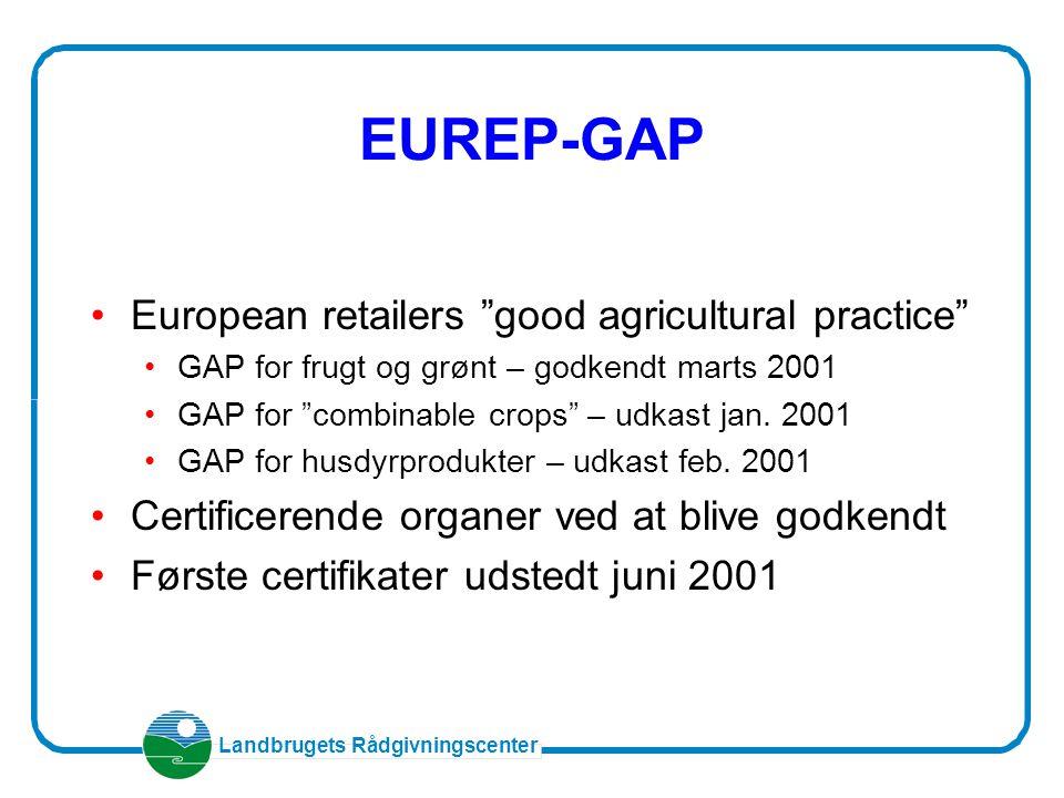Landbrugets Rådgivningscenter EUREP-GAP European retailers good agricultural practice GAP for frugt og grønt – godkendt marts 2001 GAP for combinable crops – udkast jan.