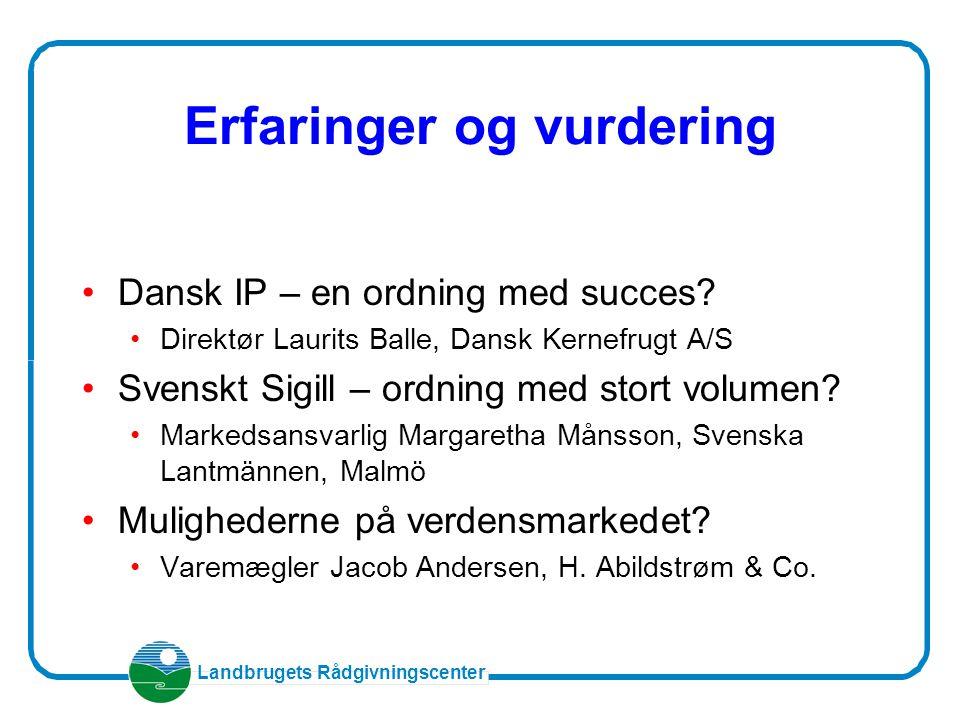 Landbrugets Rådgivningscenter Erfaringer og vurdering Dansk IP – en ordning med succes.