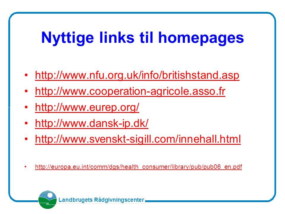 Landbrugets Rådgivningscenter Nyttige links til homepages http://www.nfu.org.uk/info/britishstand.asp http://www.cooperation-agricole.asso.fr http://www.eurep.org/ http://www.dansk-ip.dk/ http://www.svenskt-sigill.com/innehall.html http://europa.eu.int/comm/dgs/health_consumer/library/pub/pub06_en.pdf