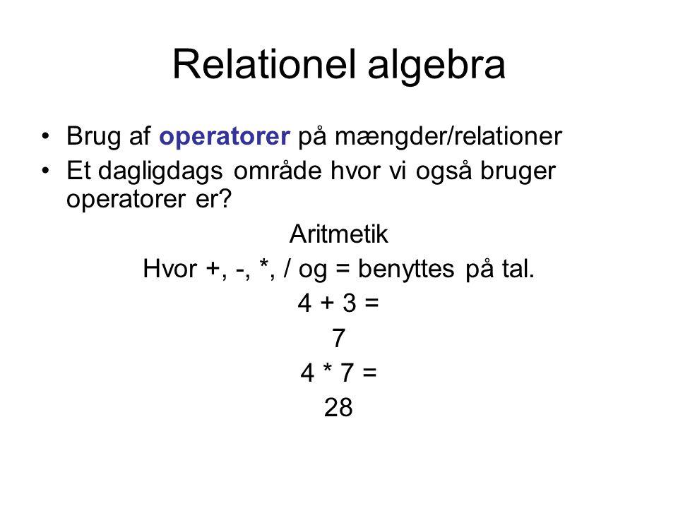 Relationel algebra Brug af operatorer på mængder/relationer Et dagligdags område hvor vi også bruger operatorer er.