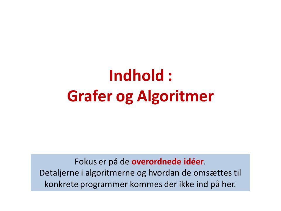 Indhold : Grafer og Algoritmer Fokus er på de overordnede idéer.