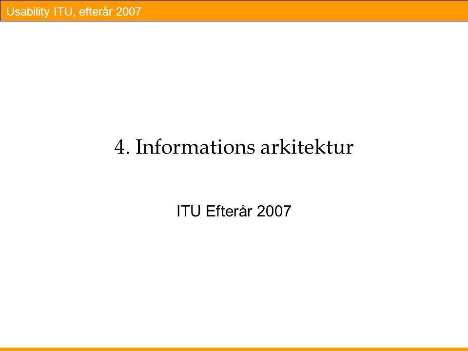 Usability ITU, efterår 2007 4. Informations arkitektur ITU Efterår 2007