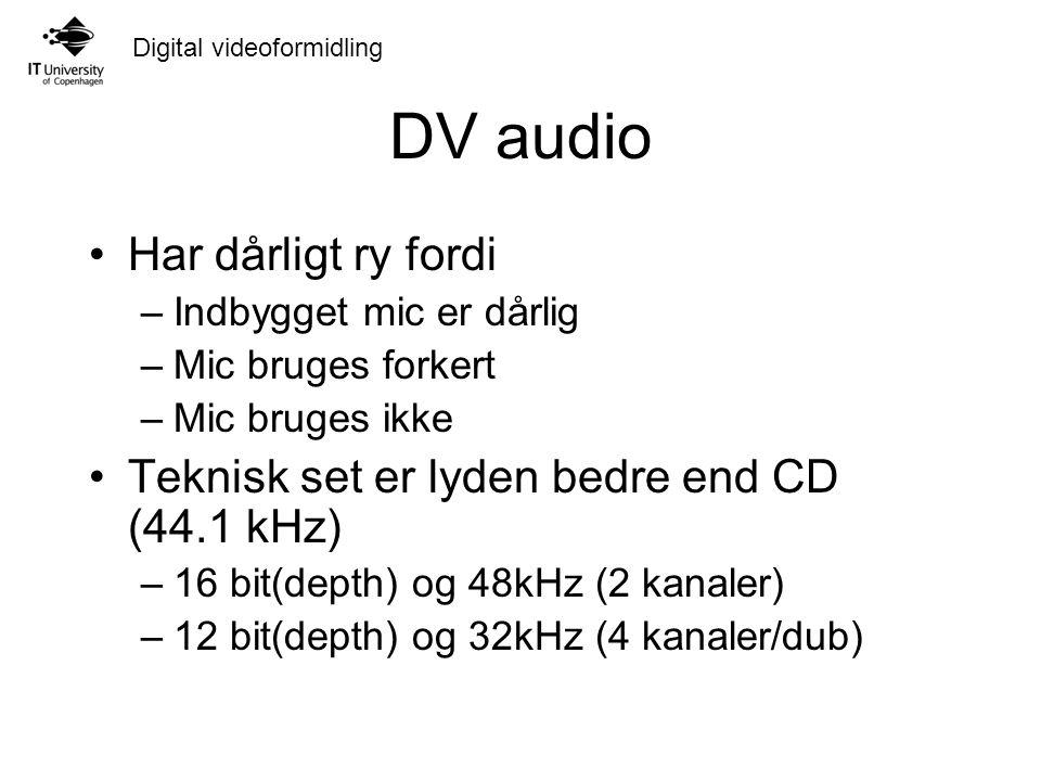Digital videoformidling DV audio Har dårligt ry fordi –Indbygget mic er dårlig –Mic bruges forkert –Mic bruges ikke Teknisk set er lyden bedre end CD (44.1 kHz) –16 bit(depth) og 48kHz (2 kanaler) –12 bit(depth) og 32kHz (4 kanaler/dub)