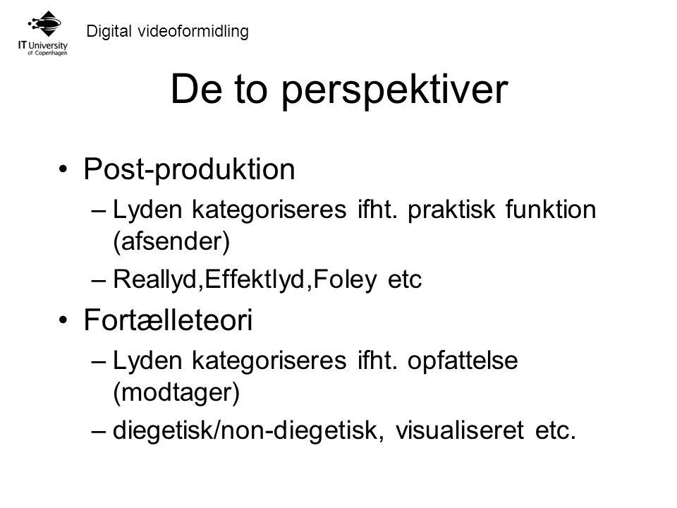 Digital videoformidling De to perspektiver Post-produktion –Lyden kategoriseres ifht.