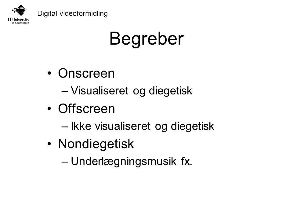Digital videoformidling Begreber Onscreen –Visualiseret og diegetisk Offscreen –Ikke visualiseret og diegetisk Nondiegetisk –Underlægningsmusik fx.