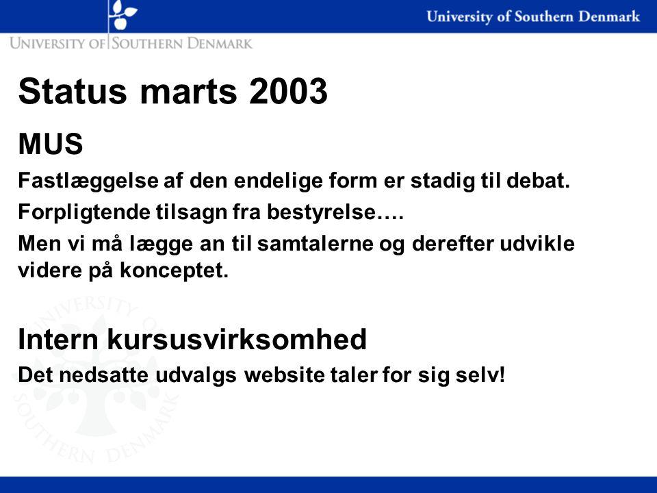 Status marts 2003 MUS Fastlæggelse af den endelige form er stadig til debat.