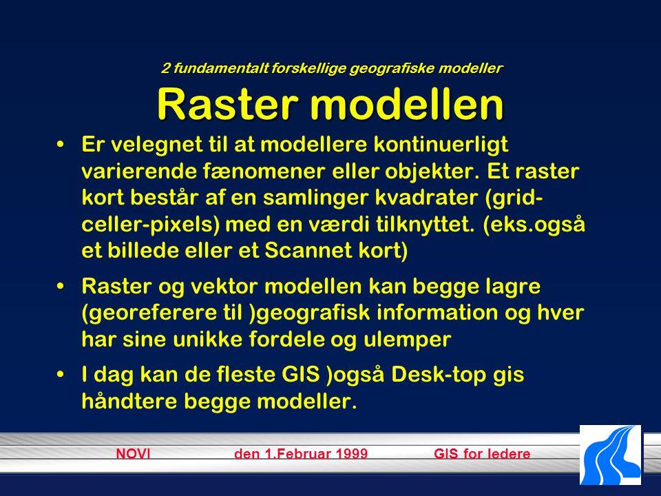 NOVI den 1.Februar 1999 GIS for ledere 2 fundamentalt forskellige geografiske modeller Raster modellen Er velegnet til at modellere kontinuerligt varierende fænomener eller objekter.