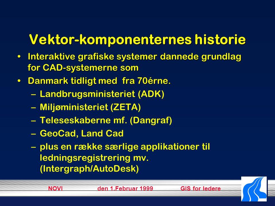 NOVI den 1.Februar 1999 GIS for ledere Vektor-komponenternes historie Interaktive grafiske systemer dannede grundlag for CAD-systemerne somInteraktive grafiske systemer dannede grundlag for CAD-systemerne som Danmark tidligt med fra 70érne.Danmark tidligt med fra 70érne.
