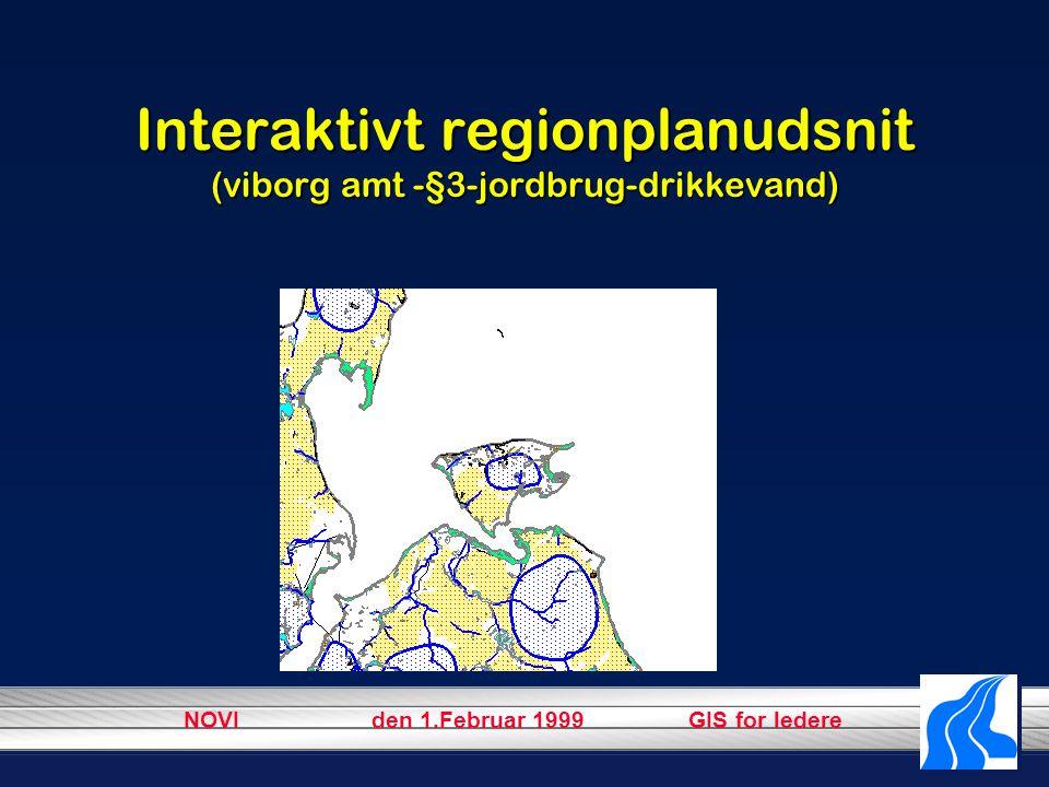 NOVI den 1.Februar 1999 GIS for ledere Interaktivt regionplanudsnit (viborg amt -§3-jordbrug-drikkevand)