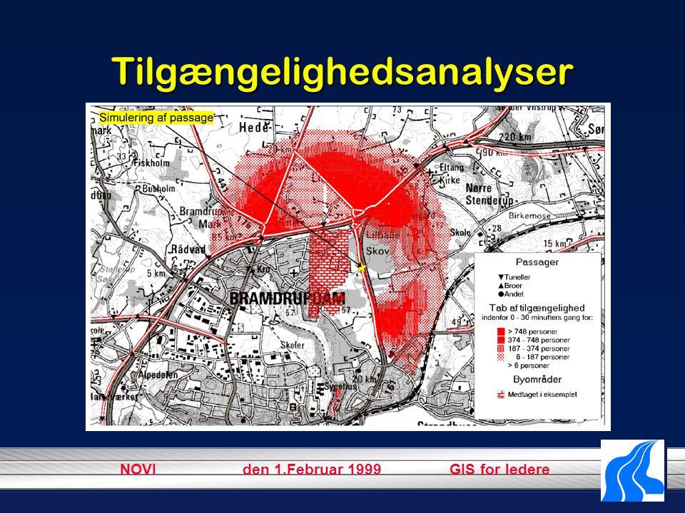 NOVI den 1.Februar 1999 GIS for ledere Tilgængelighedsanalyser