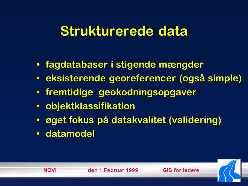 NOVI den 1.Februar 1999 GIS for ledere Strukturerede data fagdatabaser i stigende mængderfagdatabaser i stigende mængder eksisterende georeferencer (også simple)eksisterende georeferencer (også simple) fremtidige geokodningsopgaverfremtidige geokodningsopgaver objektklassifikationobjektklassifikation øget fokus på datakvalitet (validering)øget fokus på datakvalitet (validering) datamodeldatamodel