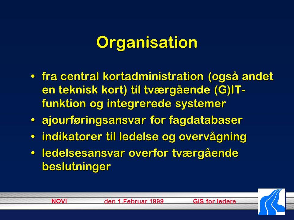 NOVI den 1.Februar 1999 GIS for ledere Organisation fra central kortadministration (også andet en teknisk kort) til tværgående (G)IT- funktion og integrerede systemerfra central kortadministration (også andet en teknisk kort) til tværgående (G)IT- funktion og integrerede systemer ajourføringsansvar for fagdatabaserajourføringsansvar for fagdatabaser indikatorer til ledelse og overvågningindikatorer til ledelse og overvågning ledelsesansvar overfor tværgående beslutningerledelsesansvar overfor tværgående beslutninger