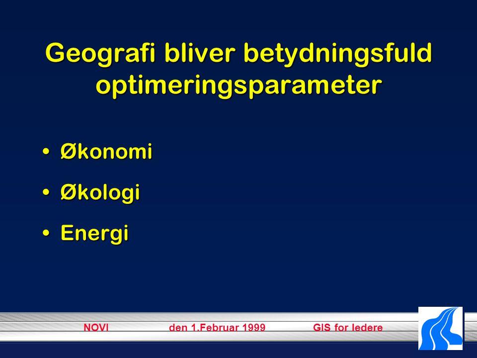 NOVI den 1.Februar 1999 GIS for ledere Geografi bliver betydningsfuld optimeringsparameter ØkonomiØkonomi ØkologiØkologi EnergiEnergi