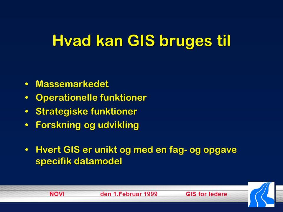 NOVI den 1.Februar 1999 GIS for ledere Hvad kan GIS bruges til MassemarkedetMassemarkedet Operationelle funktionerOperationelle funktioner Strategiske funktionerStrategiske funktioner Forskning og udviklingForskning og udvikling Hvert GIS er unikt og med en fag- og opgave specifik datamodelHvert GIS er unikt og med en fag- og opgave specifik datamodel