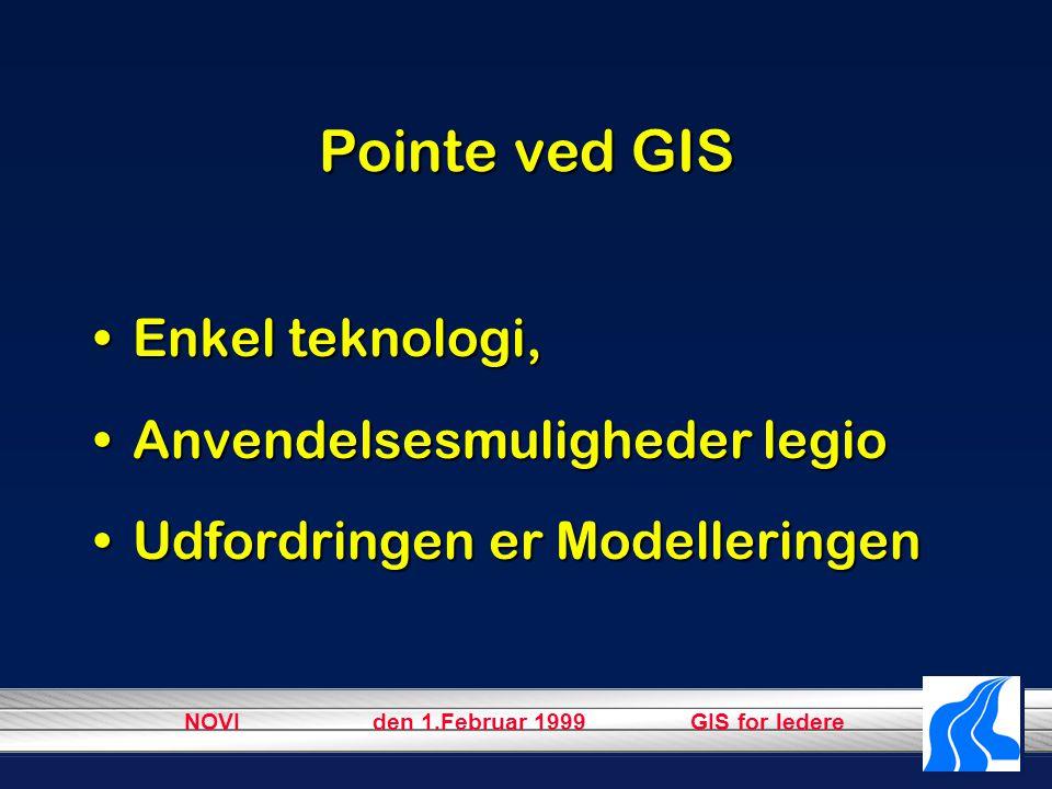 NOVI den 1.Februar 1999 GIS for ledere Pointe ved GIS Enkel teknologi,Enkel teknologi, Anvendelsesmuligheder legioAnvendelsesmuligheder legio Udfordringen er ModelleringenUdfordringen er Modelleringen