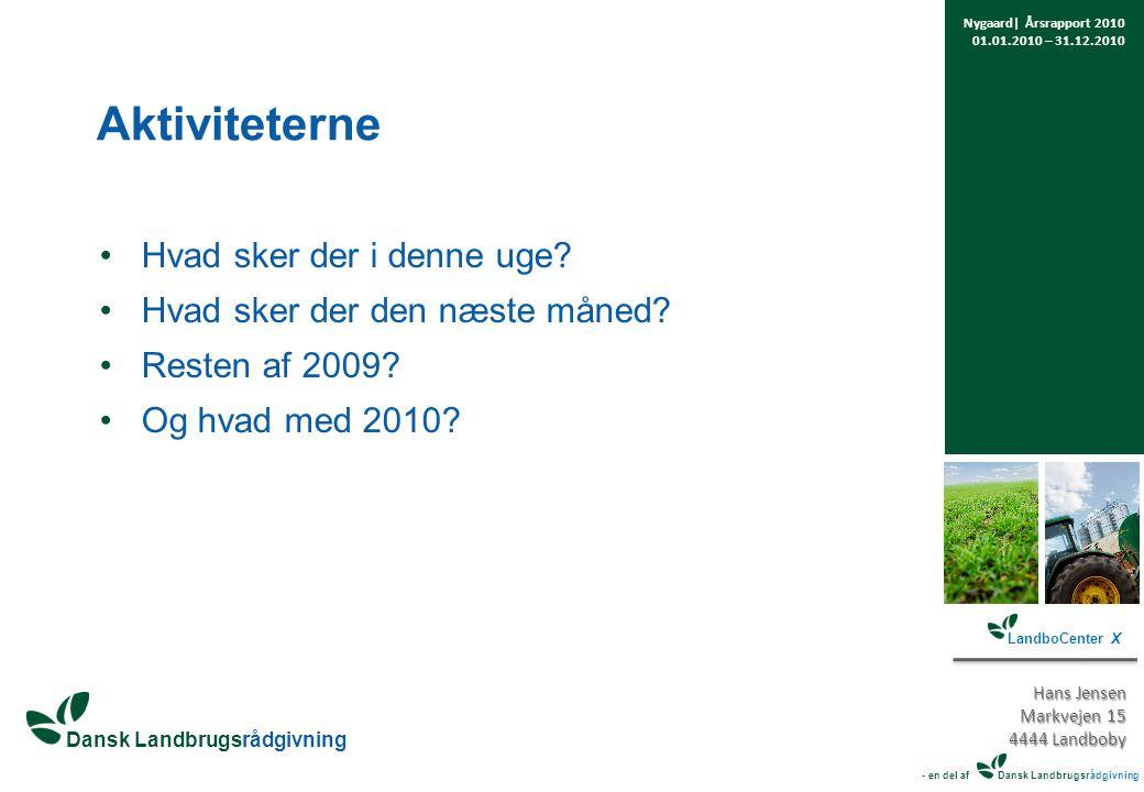 Dansk Landbrugsrådgivning Aktiviteterne Hvad sker der i denne uge.