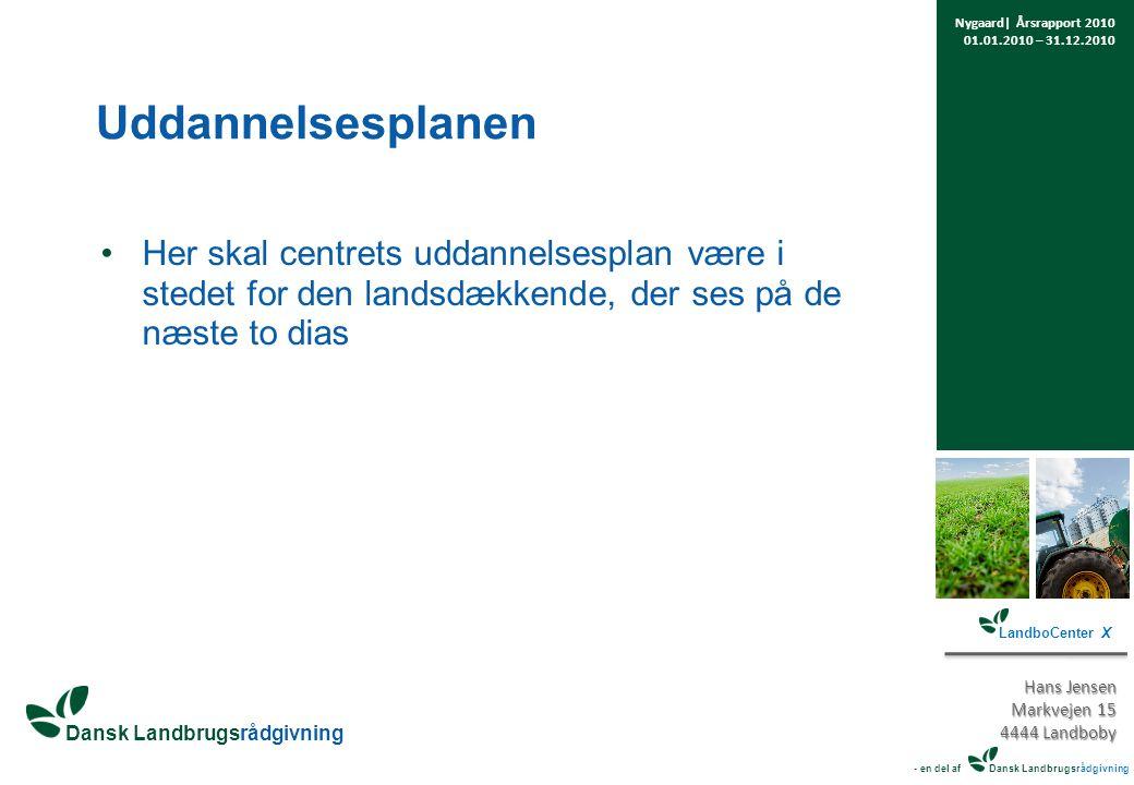 Her skal centrets uddannelsesplan være i stedet for den landsdækkende, der ses på de næste to dias Nygaard| Årsrapport 2010 01.01.2010 – 31.12.2010 LandboCenter X Hans Jensen Markvejen 15 4444 Landboby - en del af Dansk Landbrugsrådgivning Uddannelsesplanen