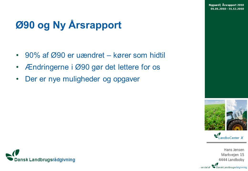 Ø90 og Ny Årsrapport 90% af Ø90 er uændret – kører som hidtil Ændringerne i Ø90 gør det lettere for os Der er nye muligheder og opgaver Nygaard| Årsrapport 2010 01.01.2010 – 31.12.2010 LandboCenter X Hans Jensen Markvejen 15 4444 Landboby - en del af Dansk Landbrugsrådgivning