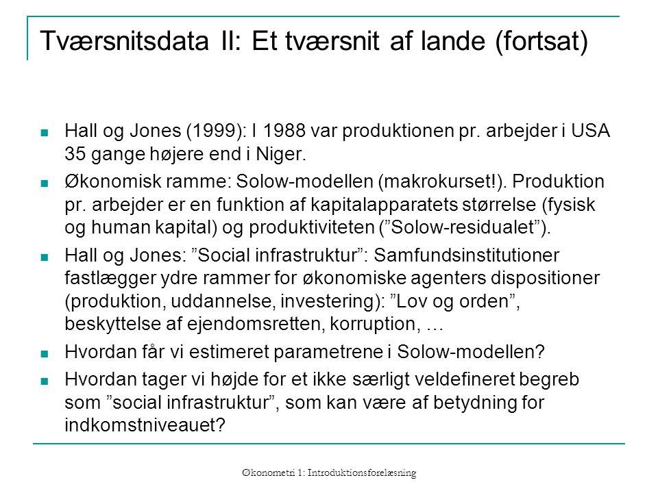 Økonometri 1: Introduktionsforelæsning Tværsnitsdata II: Et tværsnit af lande (fortsat) Hall og Jones (1999): I 1988 var produktionen pr.