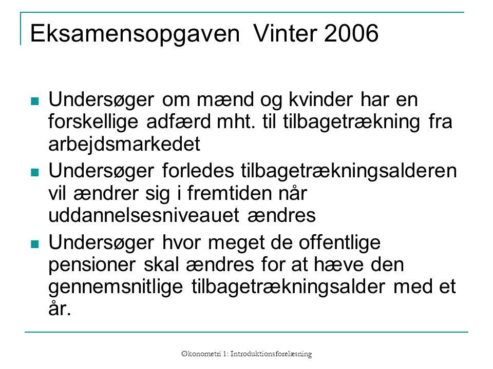 Økonometri 1: Introduktionsforelæsning Eksamensopgaven Vinter 2006 Undersøger om mænd og kvinder har en forskellige adfærd mht.