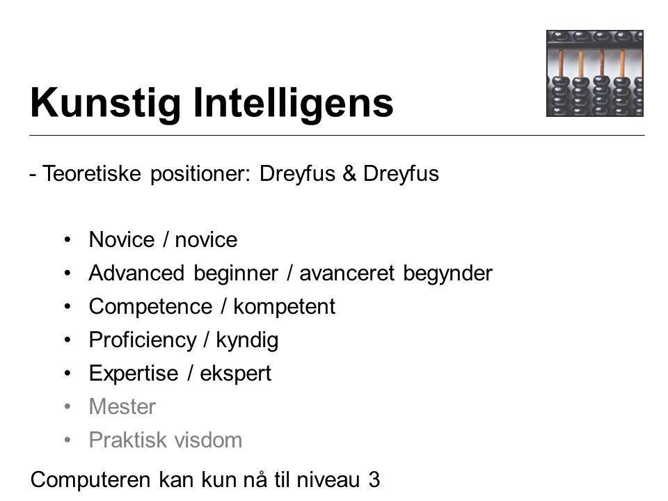 Kunstig Intelligens - Teoretiske positioner: Dreyfus & Dreyfus Novice / novice Advanced beginner / avanceret begynder Competence / kompetent Proficiency / kyndig Expertise / ekspert Mester Praktisk visdom Computeren kan kun nå til niveau 3