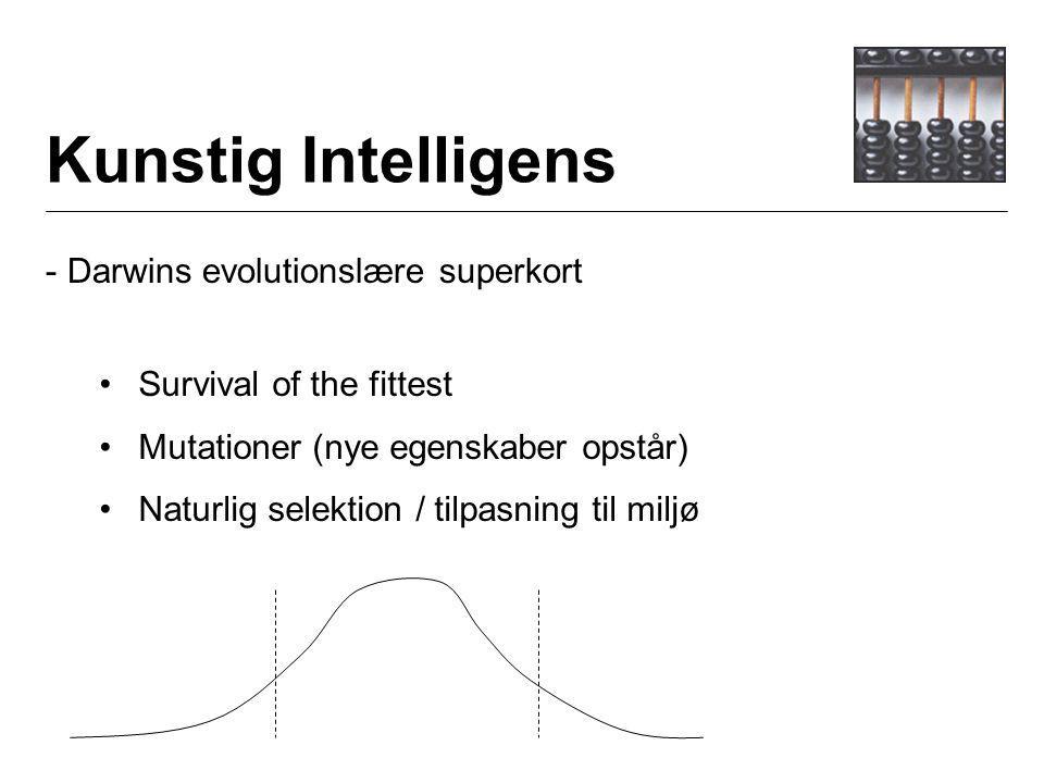 Kunstig Intelligens - Darwins evolutionslære superkort Survival of the fittest Mutationer (nye egenskaber opstår) Naturlig selektion / tilpasning til miljø