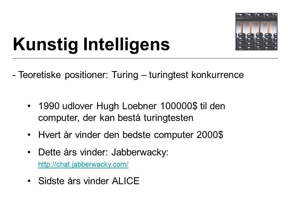 Kunstig Intelligens - Teoretiske positioner: Turing – turingtest konkurrence 1990 udlover Hugh Loebner 100000$ til den computer, der kan bestå turingtesten Hvert år vinder den bedste computer 2000$ Dette års vinder: Jabberwacky: http://chat.jabberwacky.com/ http://chat.jabberwacky.com/ Sidste års vinder ALICE