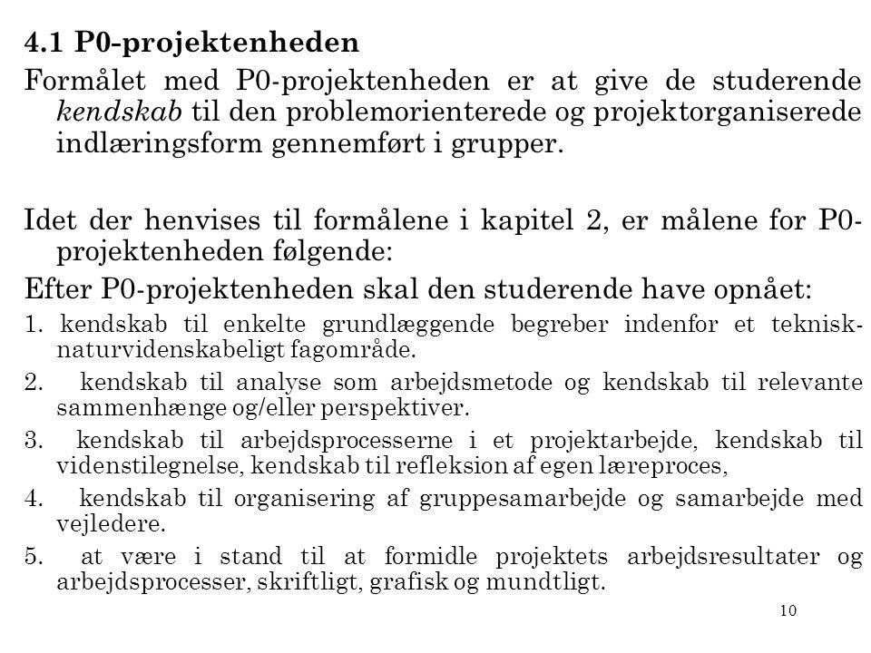 10 4.1 P0-projektenheden Formålet med P0-projektenheden er at give de studerende kendskab til den problemorienterede og projektorganiserede indlæringsform gennemført i grupper.