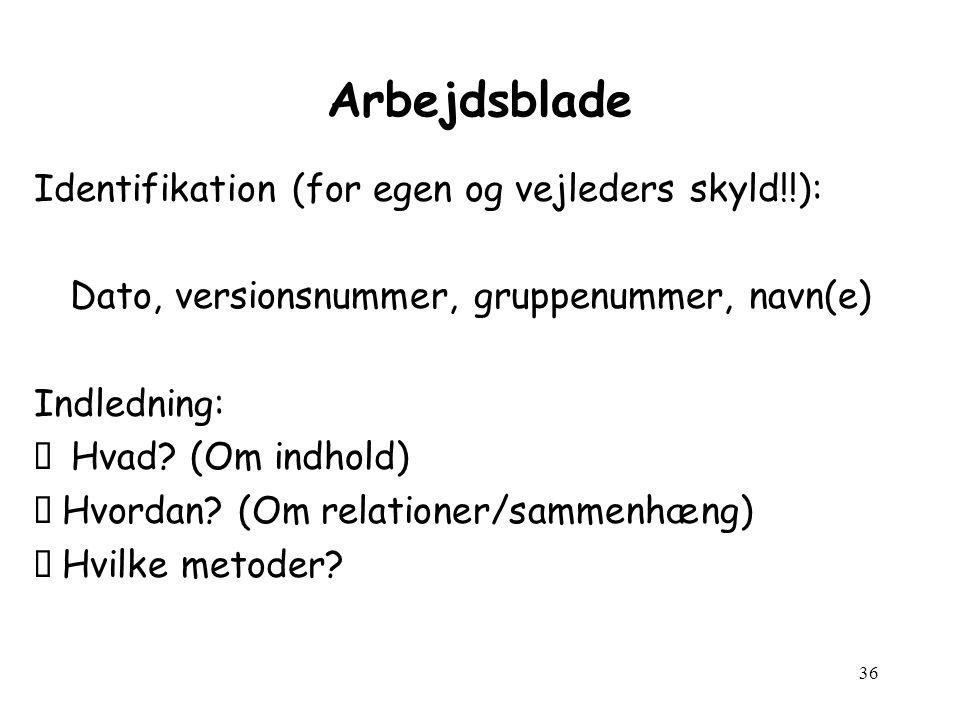 36 Arbejdsblade Identifikation (for egen og vejleders skyld!!): Dato, versionsnummer, gruppenummer, navn(e) Indledning: ' Hvad.