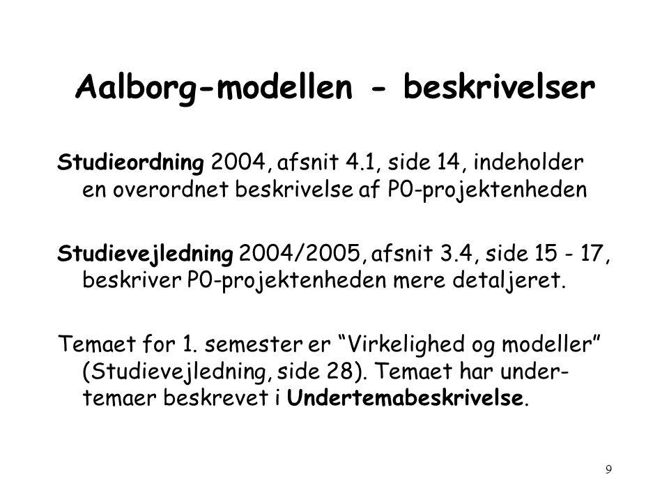 9 Aalborg-modellen - beskrivelser Studieordning 2004, afsnit 4.1, side 14, indeholder en overordnet beskrivelse af P0-projektenheden Studievejledning 2004/2005, afsnit 3.4, side 15 - 17, beskriver P0-projektenheden mere detaljeret.