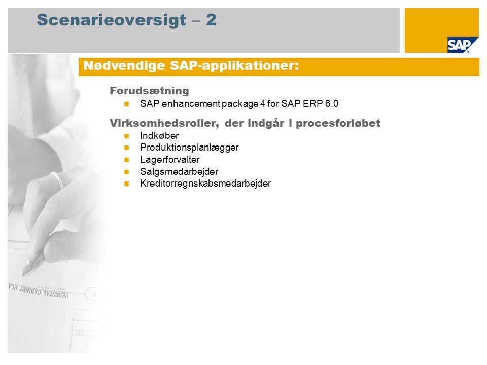 Scenarieoversigt – 2 Forudsætning SAP enhancement package 4 for SAP ERP 6.0 Virksomhedsroller, der indgår i procesforløbet Indkøber Produktionsplanlægger Lagerforvalter Salgsmedarbejder Kreditorregnskabsmedarbejder Nødvendige SAP-applikationer:
