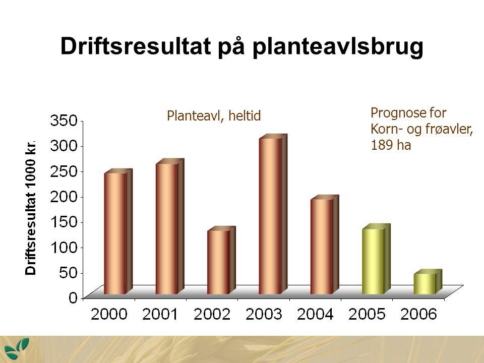 Driftsresultat på planteavlsbrug Planteavl, heltid Prognose for Korn- og frøavler, 189 ha