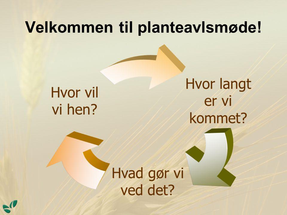 Velkommen til planteavlsmøde! Hvor vil vi hen Hvad gør vi ved det Hvor langt er vi kommet