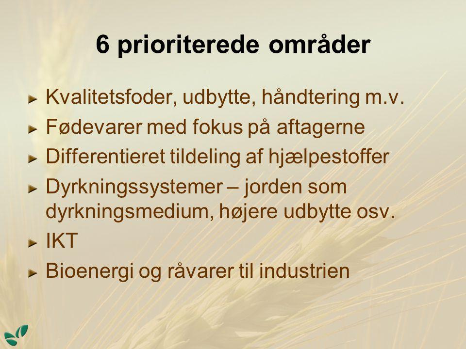 6 prioriterede områder Kvalitetsfoder, udbytte, håndtering m.v.