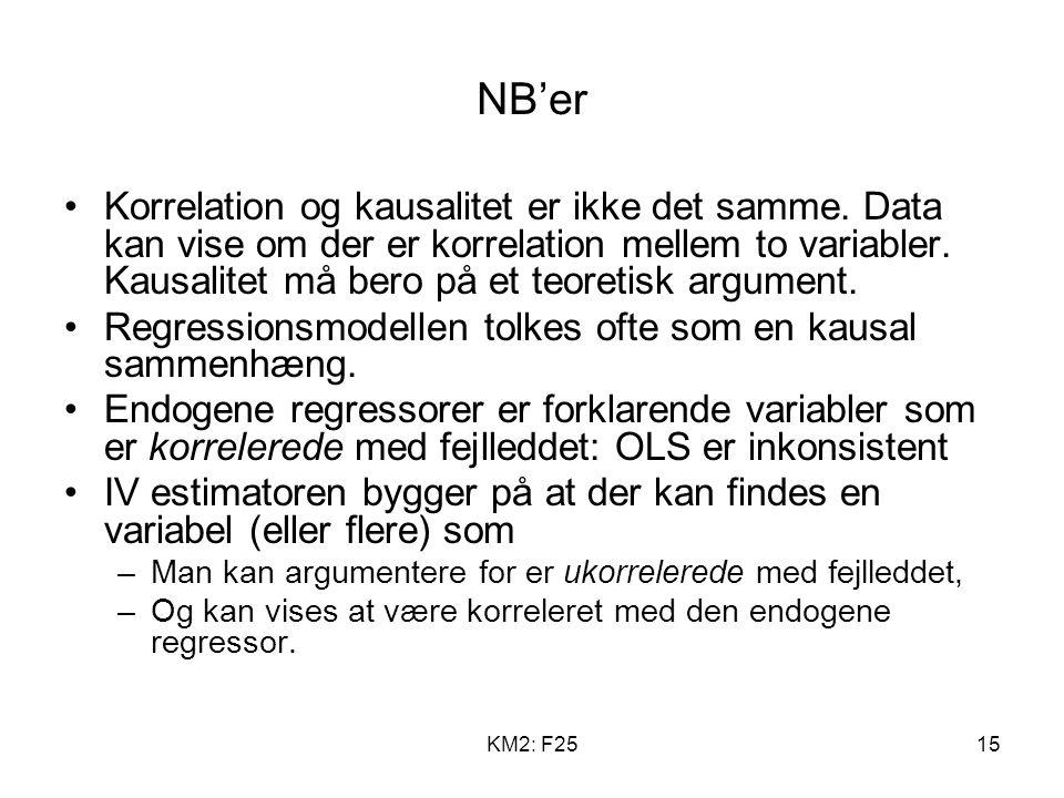 KM2: F2515 NB'er Korrelation og kausalitet er ikke det samme.