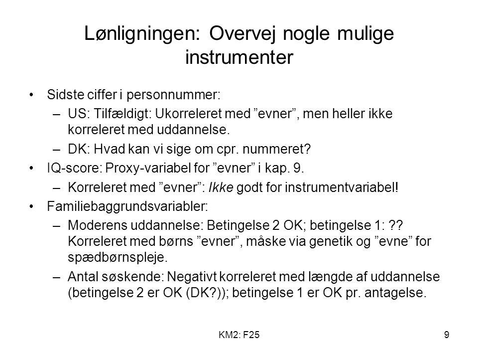 KM2: F259 Lønligningen: Overvej nogle mulige instrumenter Sidste ciffer i personnummer: –US: Tilfældigt: Ukorreleret med evner , men heller ikke korreleret med uddannelse.