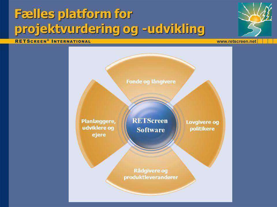 Fælles platform for projektvurdering og -udvikling Fonde og långivere Planlæggere, udviklere og ejere Lovgivere og politikere Rådgivere og produktleverandører RETScreen Software