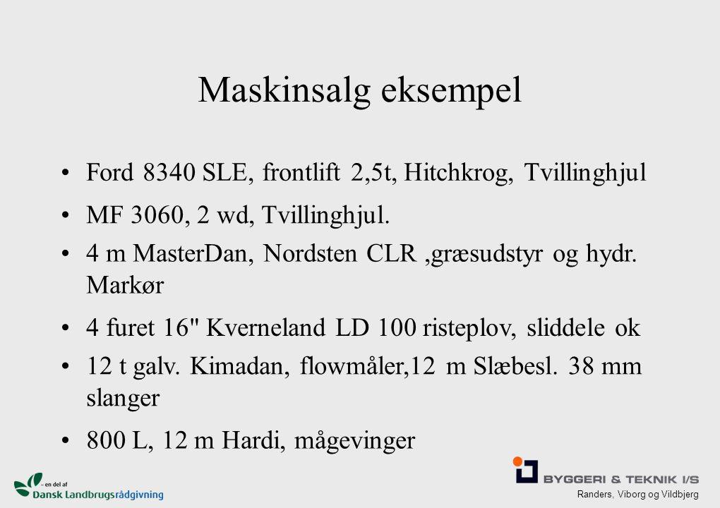 Randers, Viborg og Vildbjerg Maskinsalg eksempel Ford 8340 SLE, frontlift 2,5t, Hitchkrog, Tvillinghjul MF 3060, 2 wd, Tvillinghjul.