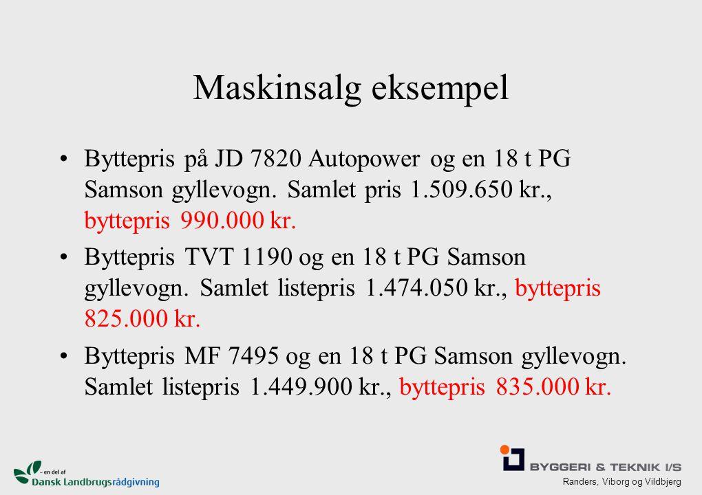 Randers, Viborg og Vildbjerg Maskinsalg eksempel Byttepris på JD 7820 Autopower og en 18 t PG Samson gyllevogn.