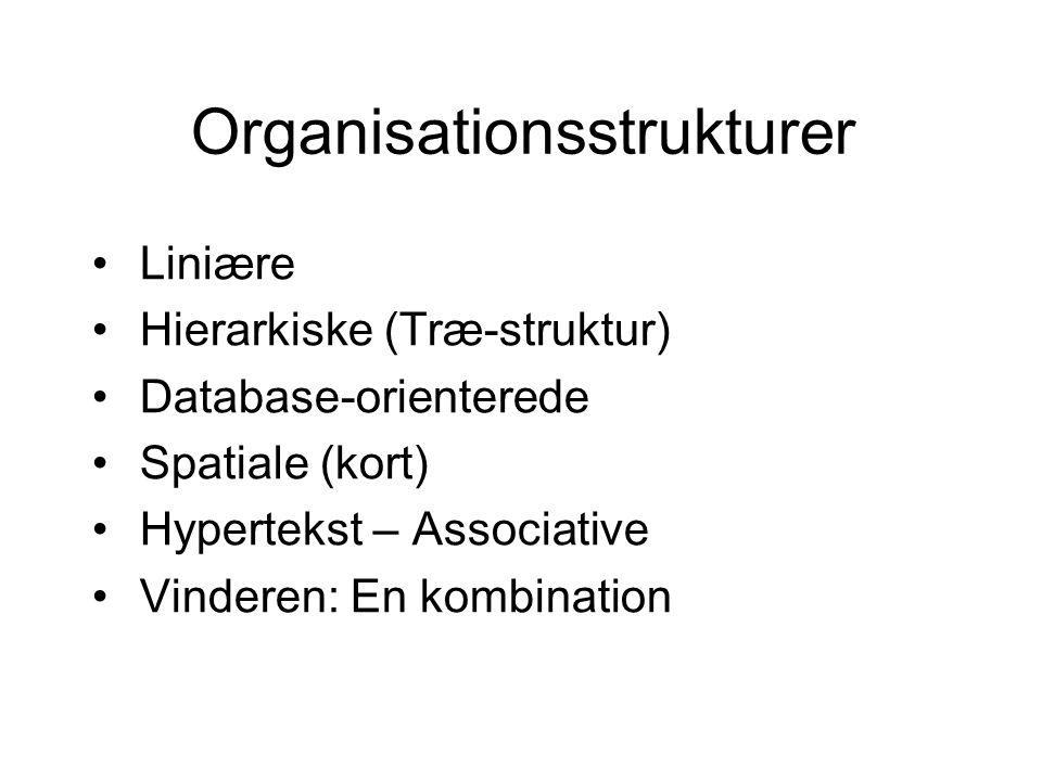 Organisationsstrukturer Liniære Hierarkiske (Træ-struktur) Database-orienterede Spatiale (kort) Hypertekst – Associative Vinderen: En kombination