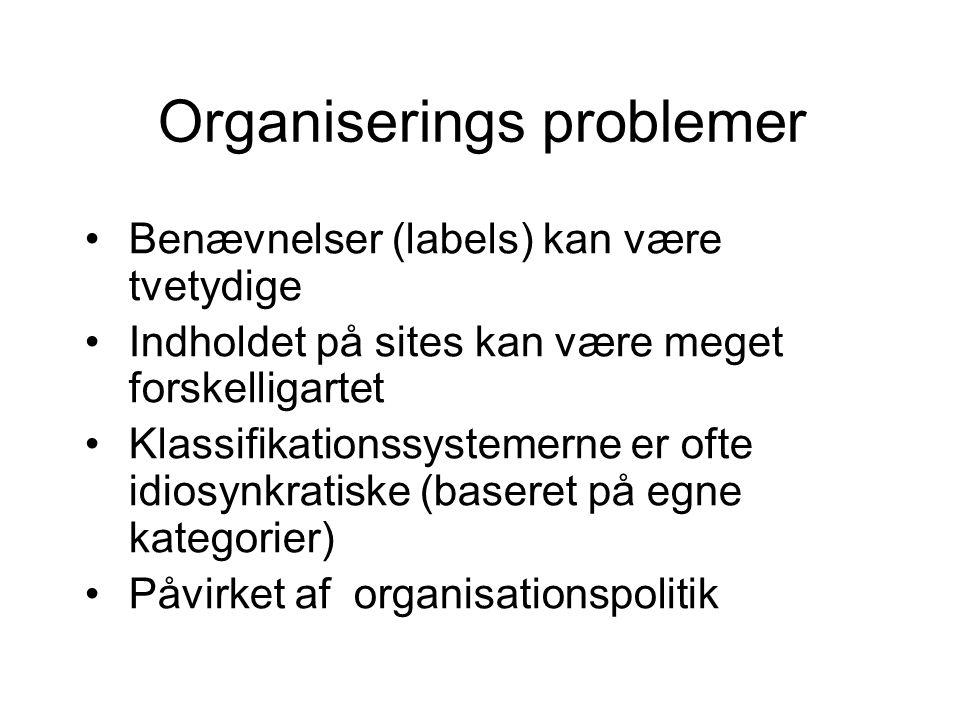Organiserings problemer Benævnelser (labels) kan være tvetydige Indholdet på sites kan være meget forskelligartet Klassifikationssystemerne er ofte idiosynkratiske (baseret på egne kategorier) Påvirket af organisationspolitik