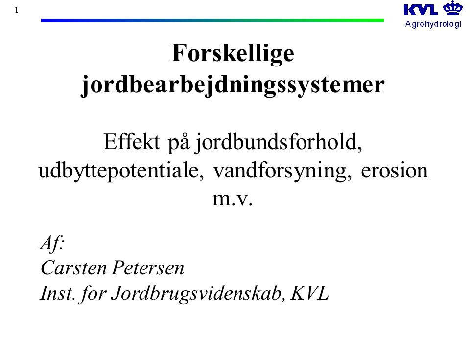 1 Forskellige jordbearbejdningssystemer Effekt på jordbundsforhold, udbyttepotentiale, vandforsyning, erosion m.v.
