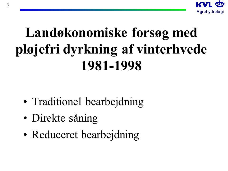 3 Landøkonomiske forsøg med pløjefri dyrkning af vinterhvede 1981-1998 Traditionel bearbejdning Direkte såning Reduceret bearbejdning