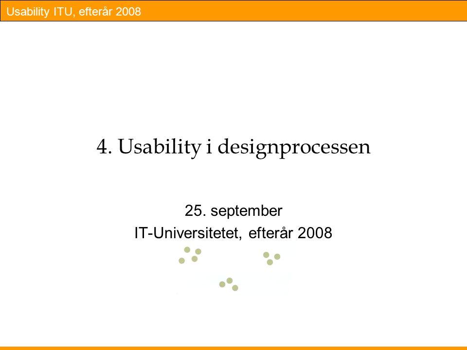 Usability ITU, efterår 2008 4. Usability i designprocessen 25.