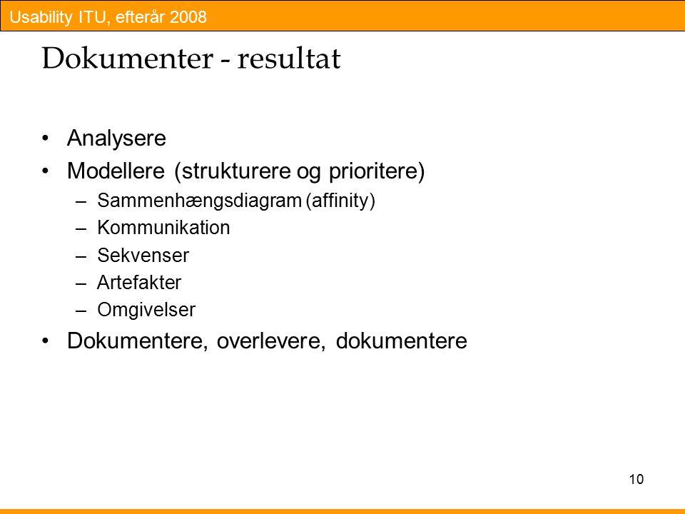 10 Dokumenter - resultat Analysere Modellere (strukturere og prioritere) –Sammenhængsdiagram (affinity) –Kommunikation –Sekvenser –Artefakter –Omgivelser Dokumentere, overlevere, dokumentere