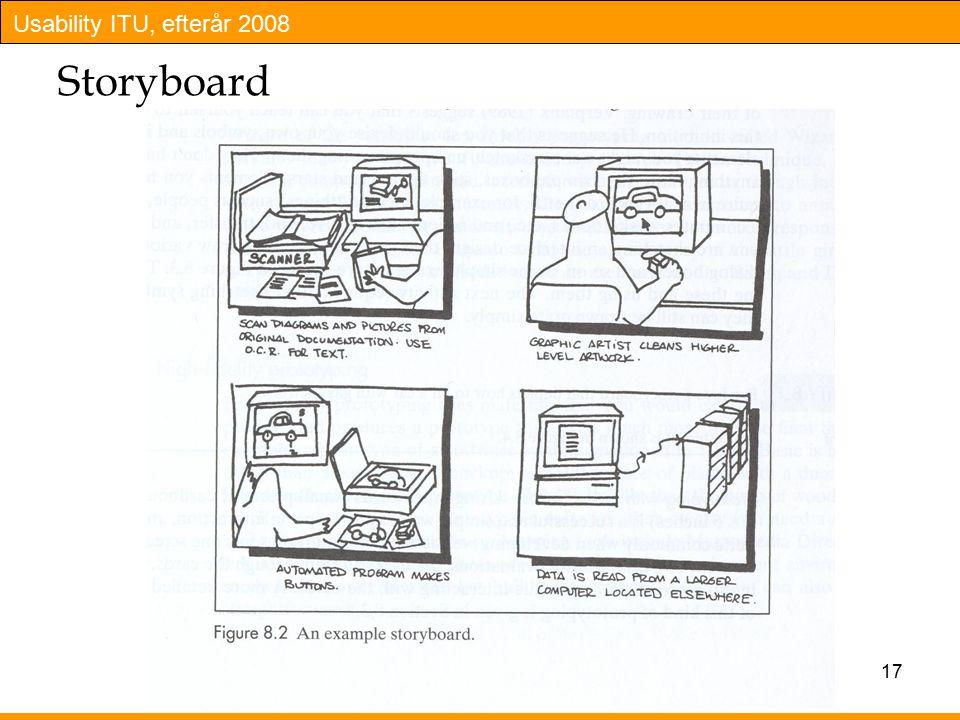 Usability ITU, efterår 2008 17 Storyboard