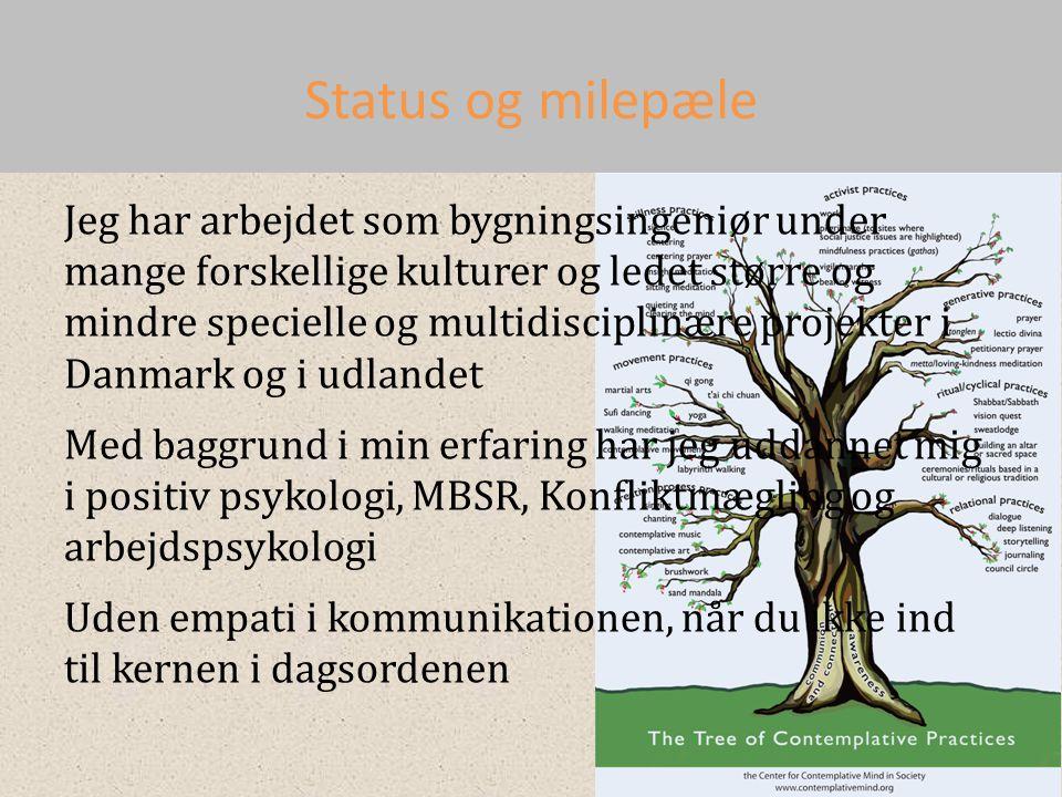Status og milepæle Jeg har arbejdet som bygningsingeniør under mange forskellige kulturer og ledet større og mindre specielle og multidisciplinære projekter i Danmark og i udlandet Med baggrund i min erfaring har jeg uddannet mig i positiv psykologi, MBSR, Konfliktmægling og arbejdspsykologi Uden empati i kommunikationen, når du ikke ind til kernen i dagsordenen