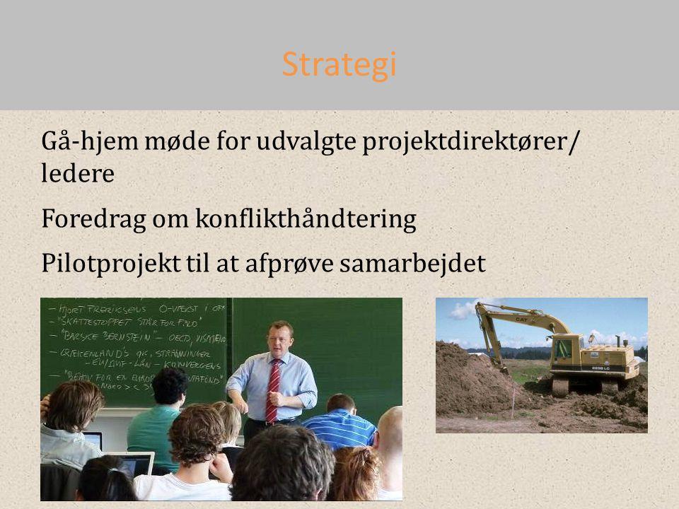 Strategi Gå-hjem møde for udvalgte projektdirektører/ ledere Foredrag om konflikthåndtering Pilotprojekt til at afprøve samarbejdet