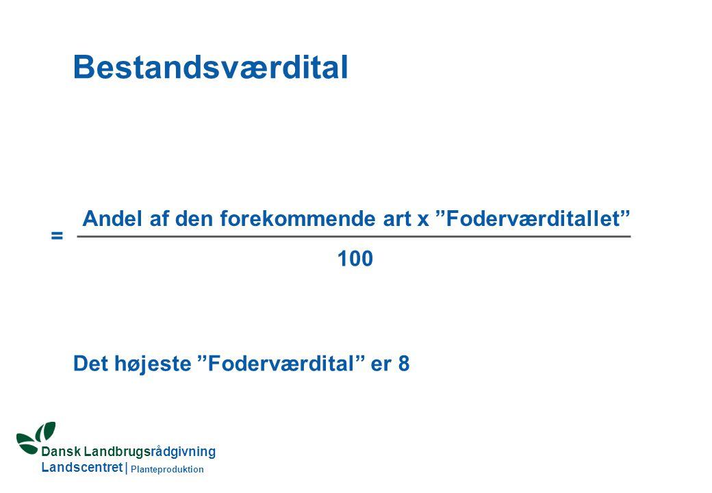Dansk Landbrugsrådgivning Landscentret | Planteproduktion Bestandsværdital Det højeste Foderværdital er 8 Andel af den forekommende art x Foderværditallet 100 =